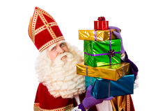 Sinterklaas que mostra presentes Fotos de Stock