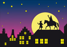 Sinterklaas at the roof. Dutch silhouet of Sinterklaas at the roof Royalty Free Stock Photos