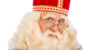 Sinterklaas slut upp på vit bakgrund Royaltyfri Foto