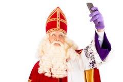 Sinterklaas som tar Selfie Royaltyfria Foton