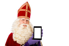 Sinterklaas with tablet Stock Photography