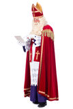 Sinterklaas with a tablet Royalty Free Stock Photo
