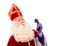 Sinterklaas with telephone Stock Photos