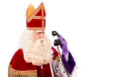 Sinterklaas with telephone Royalty Free Stock Images