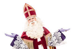Sinterklaas on white background with arms wide Royalty Free Stock Photography