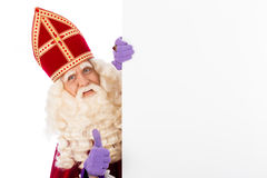 Sinterklaas with whiteboard. Isolated on white background. Dutch character of Santa Claus Royalty Free Stock Photography