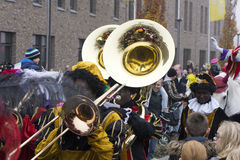 Sinterklaas and Zwarte Piet arriving Stock Image