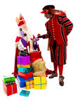 Sinterklaas and zwarte piet with telephone Stock Photography