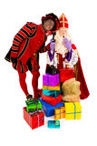 Sinterklaas and zwarte piet with telephone Stock Photos