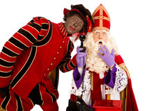 Sinterklaas and zwarte piet with telephone Royalty Free Stock Photography