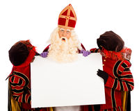 Sinterklaas and zwarte pieten with whiteboard. Sinterklaas and black pete  with placard. isolated on white background. Dutch character of Santa Claus Stock Images