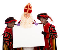 Sinterklaas and zwarte pieten with whiteboard. Sinterklaas and black pete  with placard. isolated on white background. Dutch character of Santa Claus Stock Photo