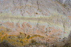 Sinther and Sulphur in Geothermal Area (Texture) Stock Images