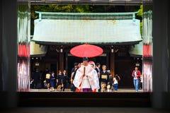 Sintoizm ślub przy Meiji świątynią, Tokio obrazy royalty free