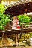 Sintoizm Ślubna panna młoda Miko Kimonowy Yushima Tenmangu Obraz Stock