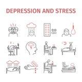 Sintomas infographic da depressão, tratamento Linha ícones ajustados Sinais do vetor para gráficos da Web ilustração stock