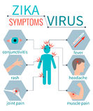 Sintomi del virus di Zika infografic Immagini Stock
