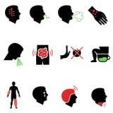 Sintomi dell'allergia e di altre malattie come icone piane Royalty Illustrazione gratis