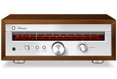 Sintonizador de radio análogo estéreo del vintage en el caso de madera V stock de ilustración