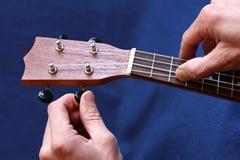 Sintonizzazione della prima serie di ukulele, primo piano Immagine Stock