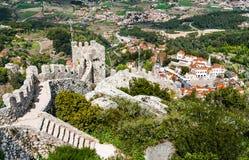 Sintra市,葡萄牙鸟瞰图  免版税库存照片