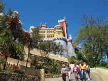 sintra的葡萄牙贝纳宫殿 免版税图库摄影
