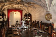 Sintra的Pena国家宫殿,葡萄牙 里面内部 免版税库存照片