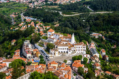 Sintra cityscape. View to Portugelse Sintra from the nearby mountain Royalty Free Stock Photos