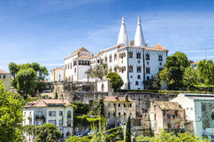Sintra National Palace (Palacio Nacional de Sintra) also called Town Palace with distinct chimneys Royalty Free Stock Image