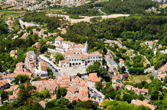 Sintra National Palace. Viewed from the top of the Moorish Castle ruined walls Royalty Free Stock Photo