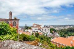 Sintra oude stad en Nationale Paleis & x28; Palá cio Nacional DE Sintra Stock Afbeelding
