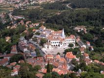 Sintra Palace. Sintra village center, panoramic view of the Palace Stock Photo