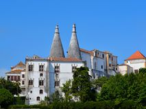 Sintra Portugal. The beautiful castle in Sintra, Portugal. Nobody who went there will forget its big chimneys stock image