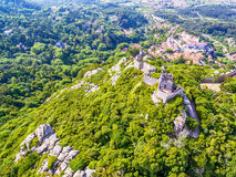 Sintra, Portugal: aerial top view of the Castle of the Moors, Castelo dos Mouros, located next to Lisbon. In spring Royalty Free Stock Photo