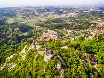 Sintra, Portugal: aerial top view of the Castle of the Moors, Castelo dos Mouros, located next to Lisbon. In spring Royalty Free Stock Photography