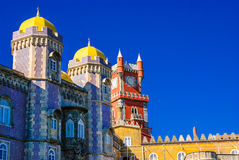 Sintra, Portugal. Architecture detail of Pena Palace, portuguese royal castle, lusitan national landmark Stock Images