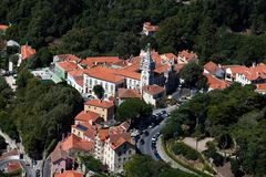 Town Hall of Sintra, Portugal. Sintra, Portugal, August 8, 2017: Town Hall of Sintra, Portugal, finished in 1910, follows the Manueline style of architecture and Stock Photo