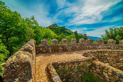 Sintra, Portugal: the Castle of the Moors, Castelo dos Mouros. Located next to Lisbon Royalty Free Stock Photos