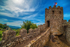 Sintra, Portugal: the Castle of the Moors, Castelo dos Mouros. Located next to Lisbon Stock Images