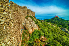 Sintra, Portugal: the Castle of the Moors, Castelo dos Mouros. Located next to Lisbon Royalty Free Stock Images
