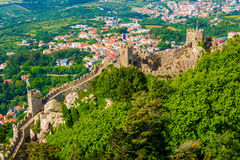 Sintra, Portugal: the Castle of the Moors, Castelo dos Mouros. Located next to Lisbon Stock Photography
