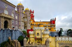Sintra, Portugal - December 15, 2018: Beautiful architecture of National Palace of Pena royalty free stock photography