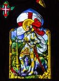 SINTRA, PORTUGAL: Heilige George - het pictogram van het vitragevenster in Pena-Vriend Royalty-vrije Stock Afbeeldingen