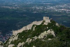 Aerial view of the Castle of the Moors Castelo dos Mouros. Sintra, Portugal. January 26, 2018. Aerial view of the Castle of the Moors Castelo dos Mouros. A Stock Images