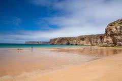 The famous surf beach near the Cape St.Vincente, Sagres,Portugal Stock Photos
