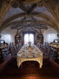 The dining room with the table served for the guests arrival. Pe Royalty Free Stock Photos