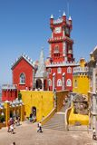 The arches terrace, chapel and clock tower  of Pena Palace. Sint Royalty Free Stock Photos