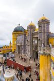 Sintra, Portugal - June, 2017. Architecture detail of Pena Palace, portuguese royal castle, lusitan national landmark. Stock Photo