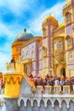 Sintra, Portugal landmark, Pena Palace. Sintra, Portugal - March 28, 2018: Famous portuguese landmark, Pena Palace or Palacio da Pena and people Royalty Free Stock Image
