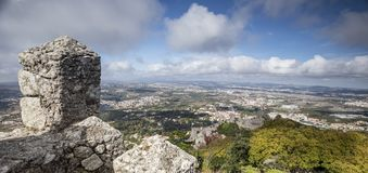 Sintra portugal with moorish castle. Sintra village portugal with moorish castle Stock Photos